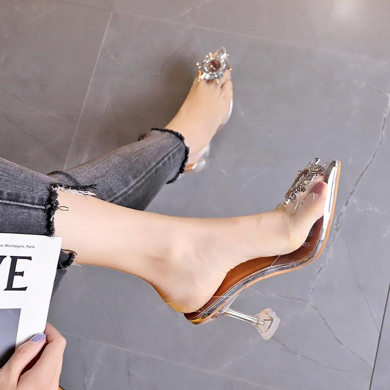 Transparent High Heels Sexy Pointed Toe Slip-on Fashion Shoes