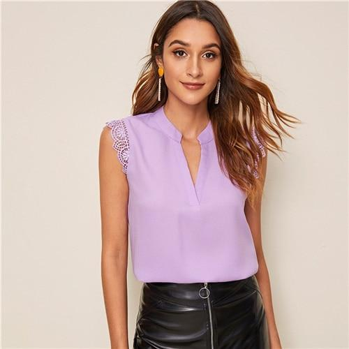 V-Placket Lace Trim Shell Top