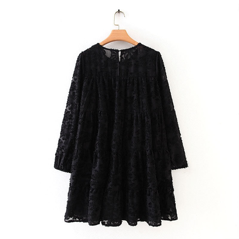 Women high street texture pattern black casual loose mini Dress