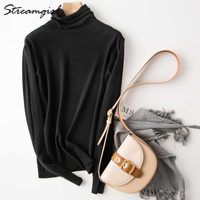 Sweater Warm Jumpers Pullover Black Turtleneck