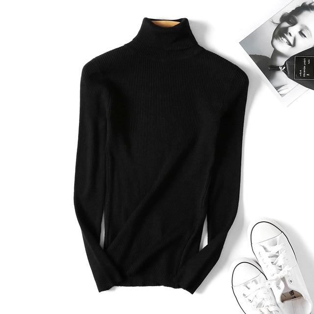 Knitted Turtleneck Sweater Casual Soft polo-neck