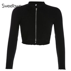 Black Ribbed Casual Crop Ladies Cardigans Sweater