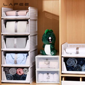 Layered partition storage rack drawer wardrobe organizer