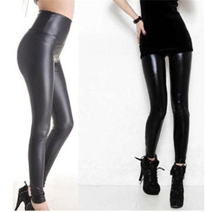 Leather Shiny Leggings  High Waist