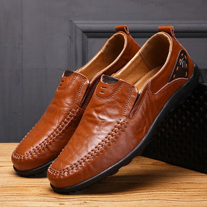 leather loafers comfortable slip-on driving casual shoes