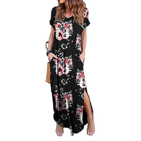 Casual Short Sleeve Floral Maxi Dress