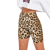 Multicolor Casual Highstreet Leopard Print Skinny Short Legging