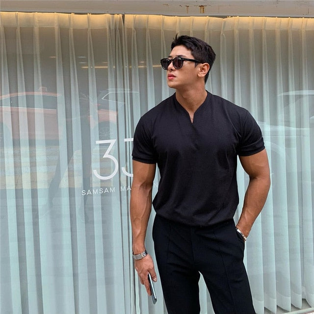 V neck short sleeve men t shirt Slim Fit t-shirt men
