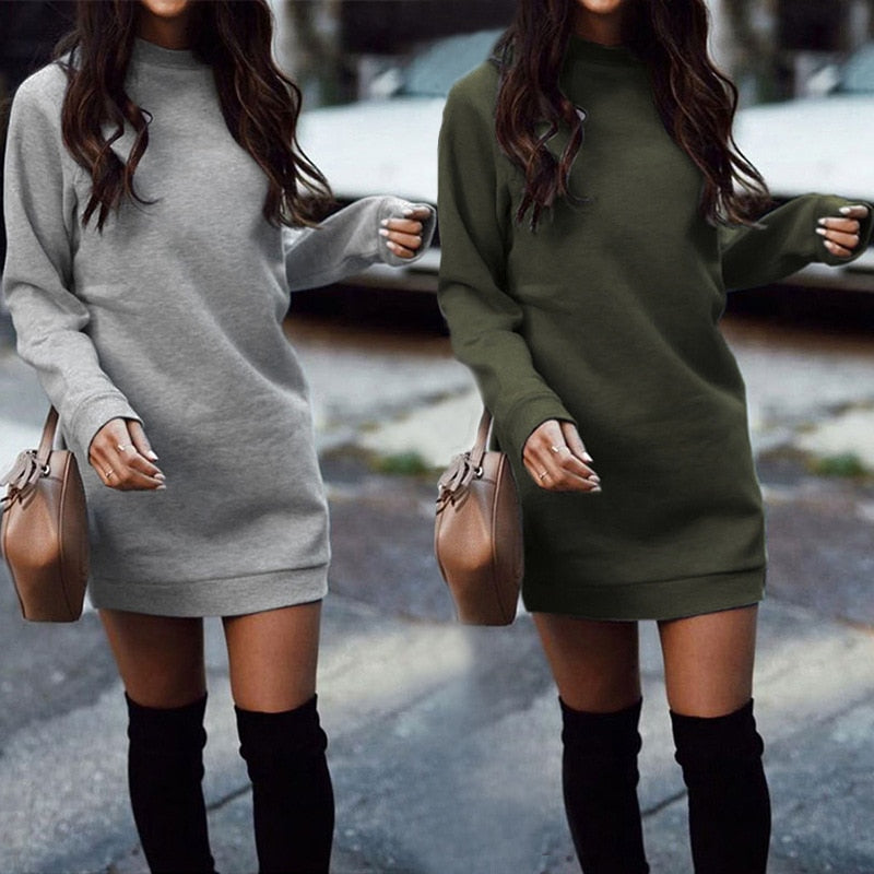 thicken Straight Sweatshirt Dress Casual Long Sleeve O Neck Pullover