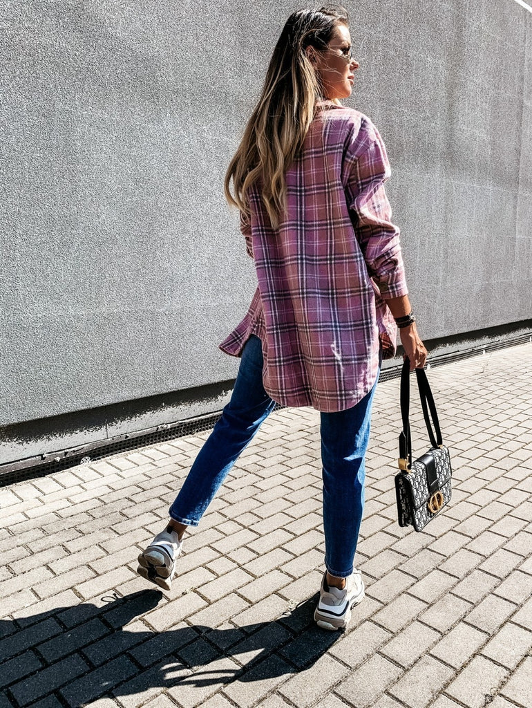 Women Long Sleeve Plaid Jacket Oversized Coat