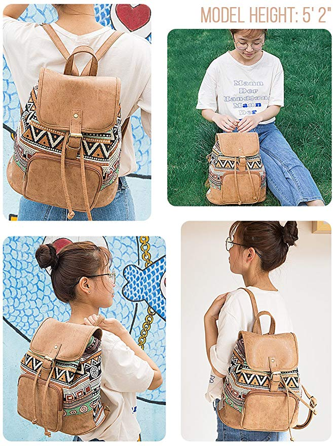 Fashion Bohemian Purse Backpack Lightweight Travel Bags