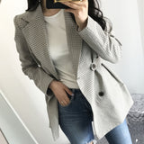 Blazers Jackets Gray Checkered Plaid Button Outerwear