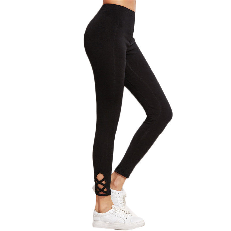 Workout Cut Out Hight Waist Black Lattice Hem Leggings