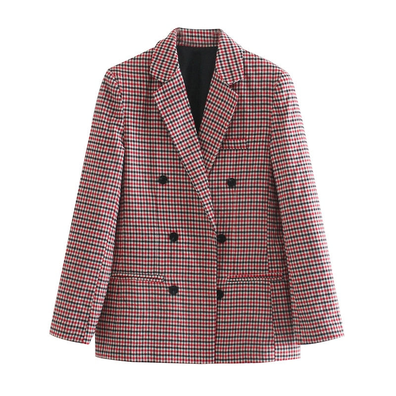 Fashion Plaid Blazers and Jackets Work Office Lady