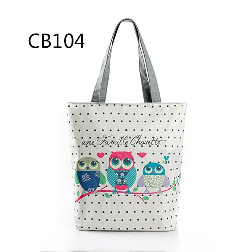 Floral And Owl Printed  Women's Casual Tote