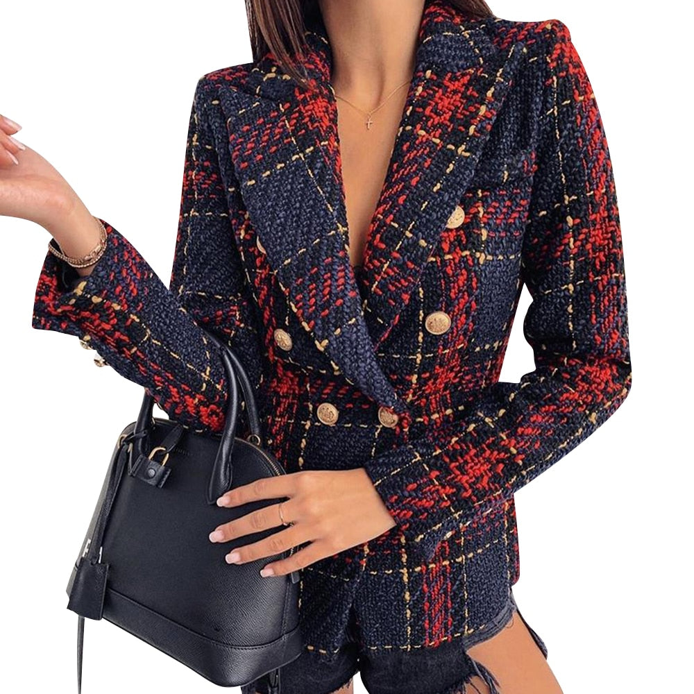 Elegant Ladies Double Breasted Slim Office Ladies Jacket