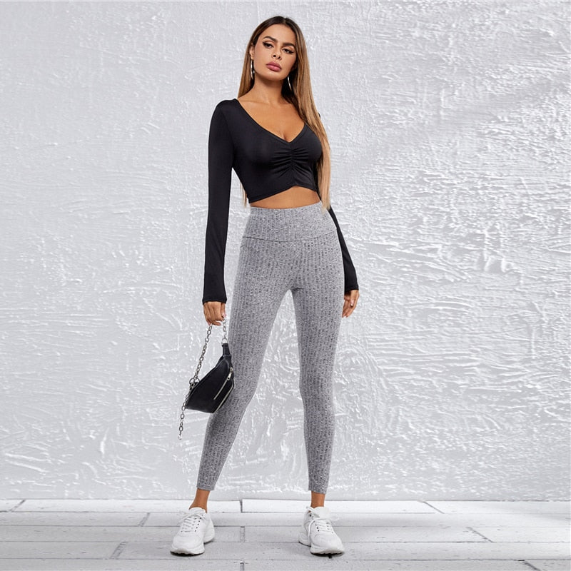 Grey Wide Waistband Rib-Knit Solid Leggings