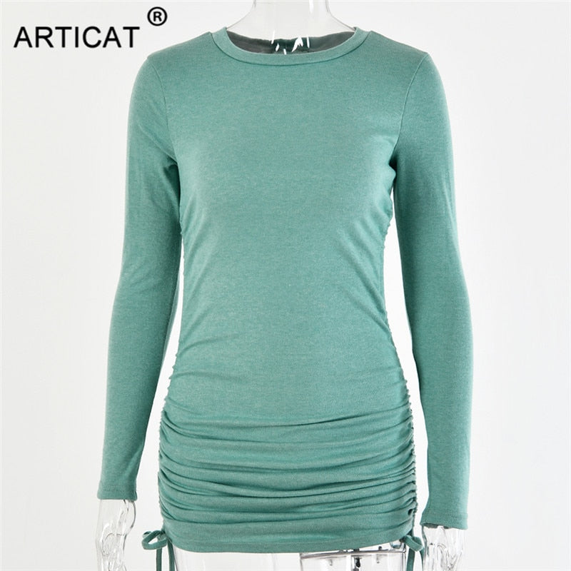 Knitted Drawstring Bandage Dresses Long Sleeve High Waist