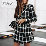 Plaid Tweed Jacket Fashion Long Sleeve Button Outerwear