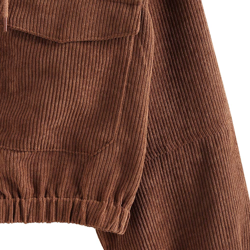 Corduroy Short Coats Drop Shoulder Pocket