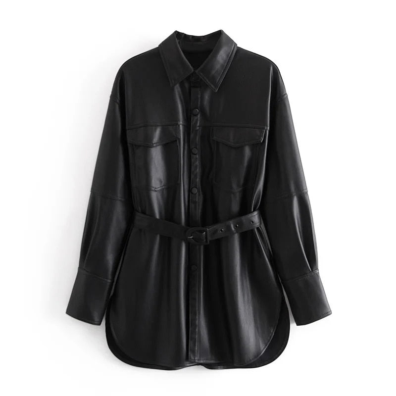 black elegant classic faux leather jacket coat with belt