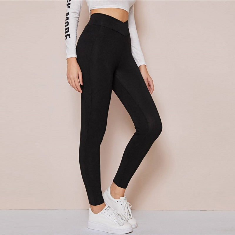 Black Wide Waistband Solid Casual Leggings