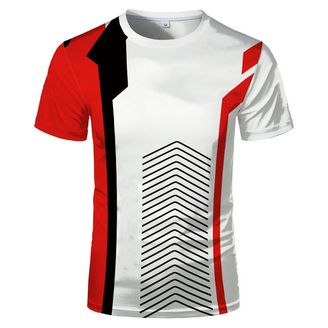 3D Digital Fashion Short Sleeve Slim Comfortable