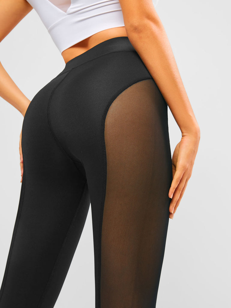 High Waist Mesh Leggings Fitness Running Breathable