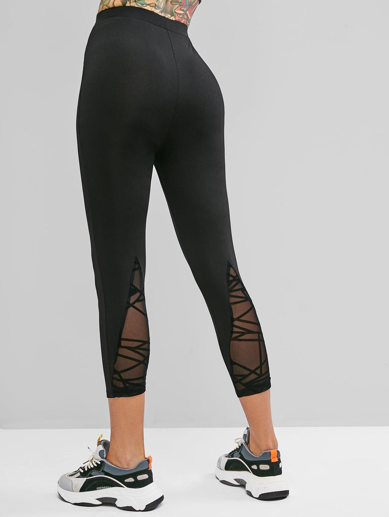 Fitness Leggings Women Push Up Gym Casual Lace Stripes