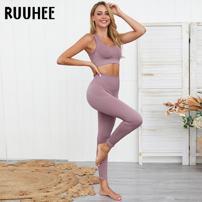 Yoga Set Women Fitness High Waist Leggings and Bra Seamless