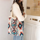 Lady Knitting Gypsy Bohemian Boho Chic Aztec Tote Bag