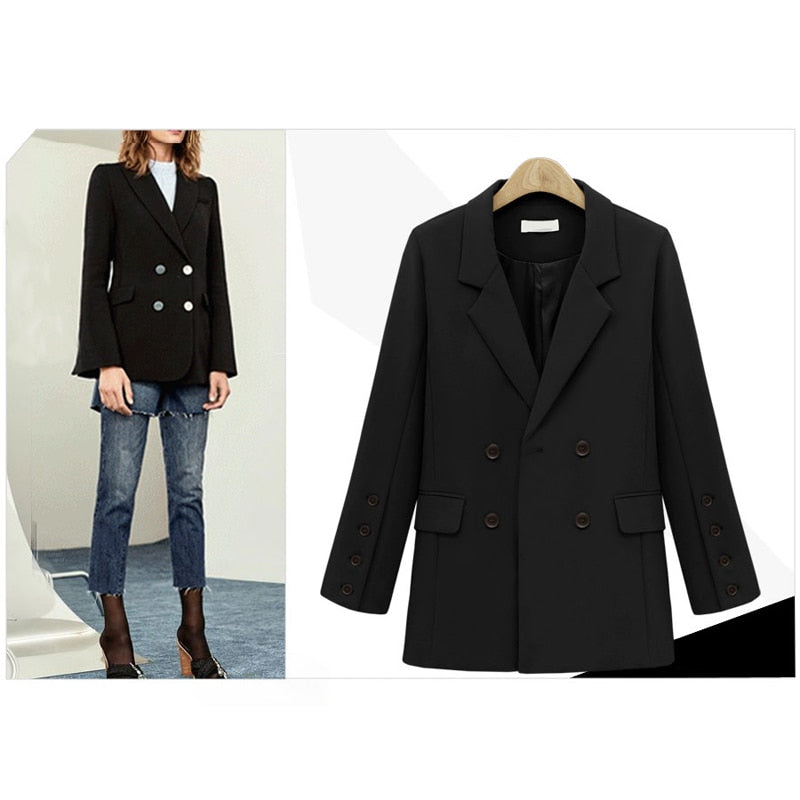 Double Breasted Casual Blazer Female Solid Color Suit Coat