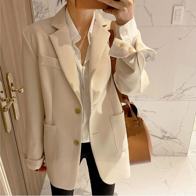 Solid Color Single Breasted Casual Blazers Jackets Office