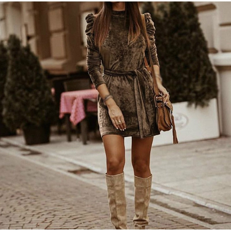 Long Puff Sleeve Velvet Women Mini Dress