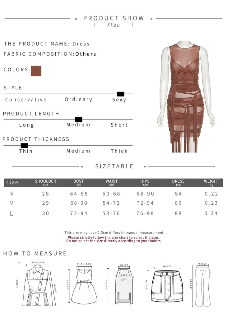 Ribbons Mesh See Through Bodycon Party Dress Solid Sleeveless Basic