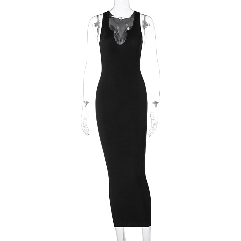 Sleeveless Solid Square Collar Ribbed Skinny Maxi Dress