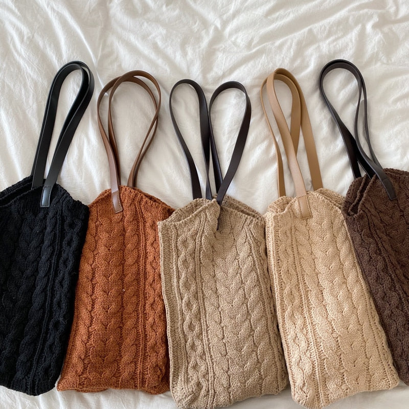 Handbags Ladies Shoulder Bag Thick Woolen Yarn Knitting
