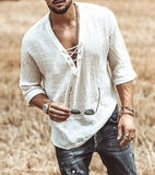 Men's Fashion Hippie Linen Shirt Casual Middle Sleeve V Neck