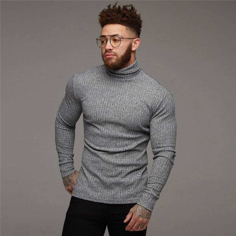 Turtleneck Sweater Men Fashion Solid Stripe Knitted Mens Sweaters