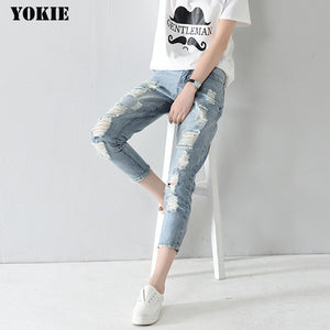 Hole ripped harem loose ankle-length Boyfriends skinny jeans