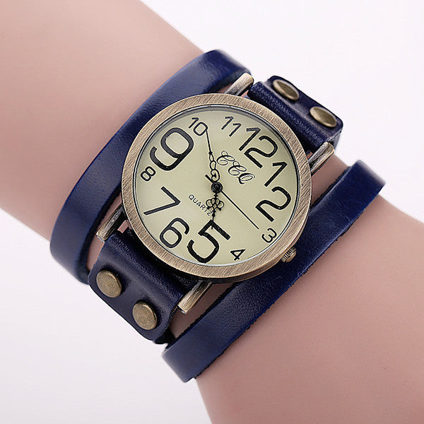 Antique Leather Bracelet Watch Vintage Wrist Watch Fashion