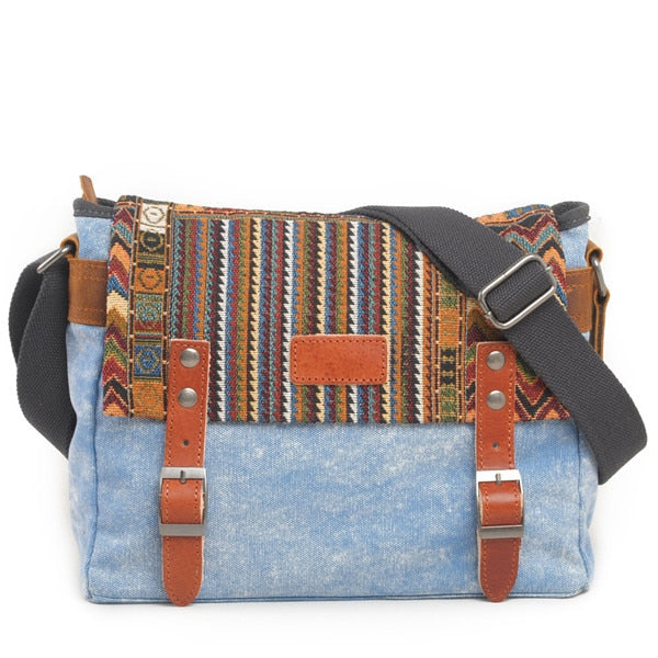 Vintage Ethnic Canvas Messenger Bag