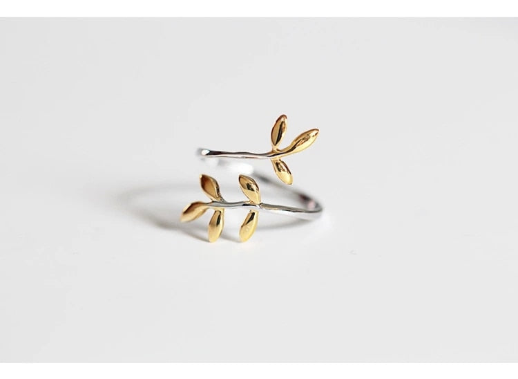 Leaves Foliage Leaf Adjustable Ring