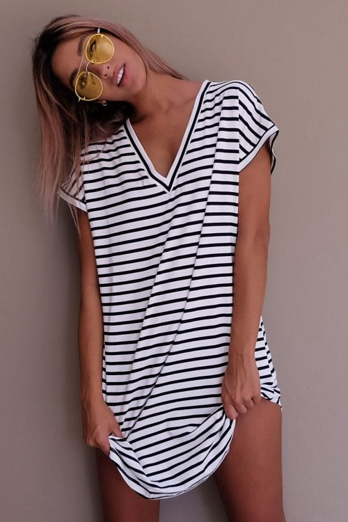 Casual Striped Cotton Straight  Dress