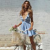 Sexy Boho V Neck Blue Stripes Dress