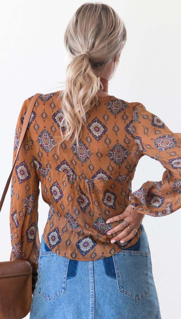 Summer Style Ethnic Print Cropped Blouse Crop Top