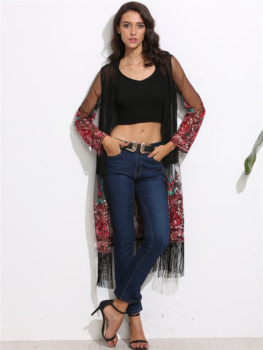 Transparent Chiffon Retro Tribal Embroidery Tassel Sun Shirts Cardigan