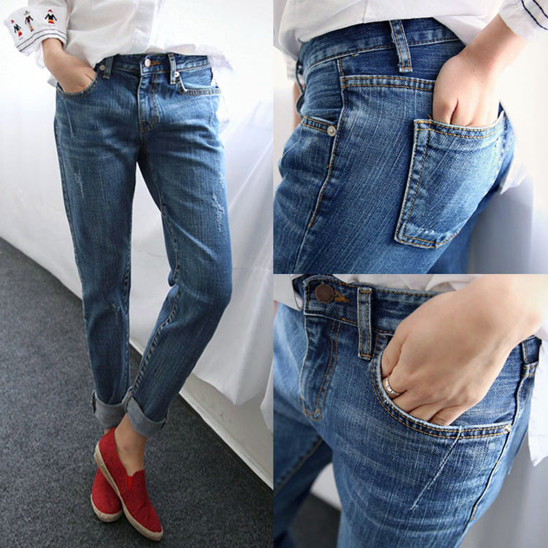 Vintage Distressed Regular Spandex Ripped Jeans Denim washed Boyfriend Jeans