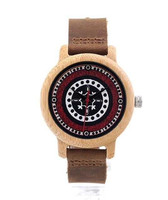 Bamboo Wooden Wristwatch Unique Bohemian Style Lady Quartz Watch