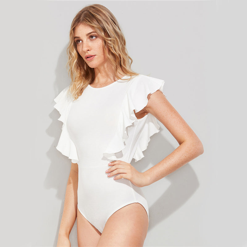 Ruffle Cute Textured Bodysuit